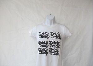 Cheap Trick Stacked Distressed Logo T-Shirt - White Junior Medium & Large - NEW