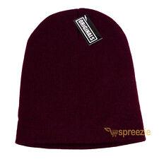 Wine Red Skull Cap Plain Beanie Knitted Ski Hat Skully Warm Winter Solid Head