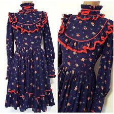 Vintage 80s Floral Ruffle Dress Size Medium Lolita Fashion Festive Cranston