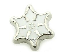 Silver Snowflake Christmas Floating Charm For Our Glass Memory Locket Necklaces