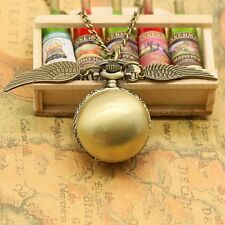 Fashion Woman Lady Golden Wing Harry Potter Gold Snitch Pocket Watch Necklace