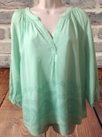 Crown & Ivy Women's Blouse Size XL 3/4 Sleeve V-Neck Pullover Top