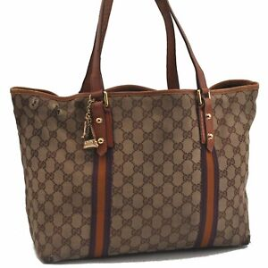 Auth GUCCI Sherry Line Shoulder Tote Bag Canvas Leather Brown Beige Purple C2299