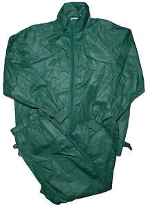 Vintage LACOSTE Men's Rain Windbreaker Track Suit Jacket Pants Green Large XL