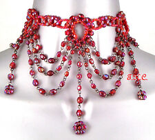 Gothic Tudor Red Goth Victorian Moulin Wedding Prom Ball Glass Choker Necklace