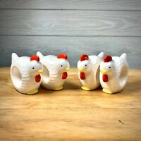 Vintage Knobler Japan Ceramic Chicken Napkin Holders 4 Pcs Rings Farmhouse Decor