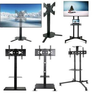Mobile TV Cart Mount Stand Bracket Rolling Floor Mount Stand Tilt Swivel AU New