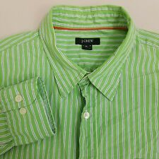 J.CREW Button Up Shirt Men's Size XL Extra Large Green Striped Long Sleeve