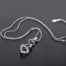 Halskette Kette mit Triple Herz Love Heart Infinity Edelstahl Anhänger Strass