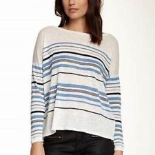 NWT JOIE Maine Nautical Stripe Linen Light weight Sweater Large $238