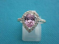 925 Sterling Silver Ring With Pink And White Topaz UK S, US 9 (rg2751)