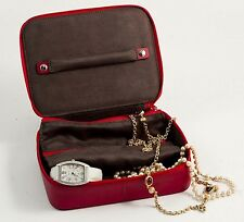 "JEWELRY BOXES - ""RUNNYMEDE"" RED LEATHER JEWELRY BOX - TRAVEL JEWELRY CASE"
