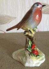 ROYAL DOULTON ADDERLEY BIRD  ROBIN SINGLE ON BRANCH CHINA RED FLOWERS VGC
