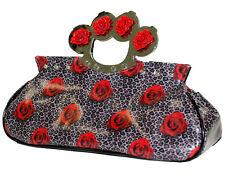 TooFast KNUCKS Bag ROSES and LEOPARD Handtasche Leomuster Rockabilly