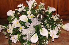 Mothers Day Solar Light Calla Lily Daisy Cemetery Silk Flower Headstone Saddle