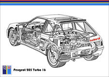 PEUGEOT 205 TURBO 16 T16 RALLY GROUP B RETRO A3 POSTER PRINT CUTAWAY IMAGE