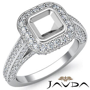 Halo Pave Diamond Engagement Asscher Semi Mount Ring 18k White Gold White 1.25Ct