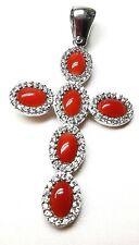Ciondolo croce di corallo rosso con zirconi in argento 925 artigianale unisex
