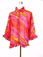 DE VILLE Womens Designer Casual Multicolour Lace Ruff Frill Shirt sz XL 16 BD31