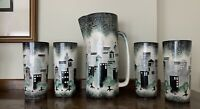 Mid Century Modern Studio Art Pottery Signed Cityscape Pitcher & 4 Tall Tumblers