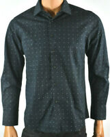 Tallia Mens Shirt M 15.5 New Collared Long Sleeve Black Dot Front Button Party