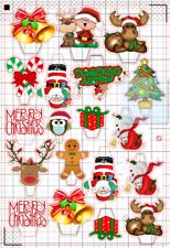19 x Natale Babbo Natale Stampato Cupcake Topper Stand Up Pre-Tagliati Natale