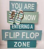 2f8b96b06d3f Nautical Flip Flop Zone Beach Pool Decor Wall Tropical Wood Sign Plaque New