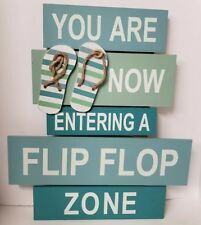 a109e0d11 Nautical Flip Flop Zone Beach Pool Decor Wall Tropical Wood Sign Plaque New