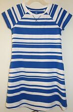 New Lands' End Sail Blue Stripe Cotton Knit Dress ~ Girl's Medium / 5-6