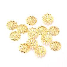 100 Calottes Perles Coupelles Ajouré Fleur doré  8 mm
