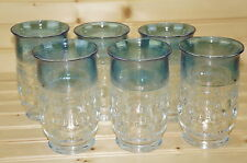 """Tiffin King's Crown Blue Flashed Lot of (5) Flat Tumblers, 5"""""""