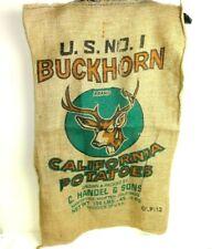 "Vintage Buckhorn Brand Stag Potatoes 100lb Burlap Bag C Handel & Sons 39""x24"""