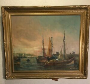 ANTIQUE PAINTING A.BODSON ORIGINAL OIL ON CANVAS LISTED ARTIST HARBOR SCENERY