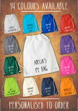 Personalised Cotton Sport Drawstring Bag PE GYM Sack School P.E Kids  Rucksack