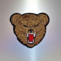 Grizzly Bear Patch — Iron On Badge Embroidered Motif — Animal Applique Brown