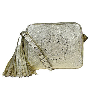Authentic ANYA HINDMARCH Smiley Fringe Shoulder Bag Leather Gold Italy 64MB073