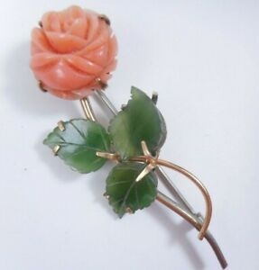 Vtg Signed KREMENTZ Genuine Carved Coral & Jade Flower Brooch Pin Gold Plated