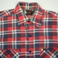Vtg Wrangler Flannel Work Shirt Mens MEDIUM USA Made NIcely Faded Cowboy Chore
