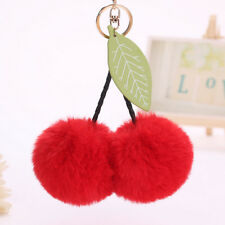 Fashion Cute Leaf Little Cherry Fur Ball Key Chain Car Keyring Women Bag Pendant