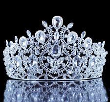 Queen Austrian White Crystal Rhinestone Tiara Hair Combs Crown Silver Prom T1900