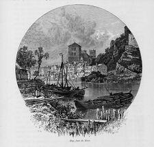 Stampa antica HUY HU Veduta dal fiume Belgio 1879 Antique Print Ancien Gravure