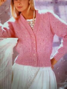 "Ladies V Neck Cardigan Chunky Knit Size: 32""-40  Vintage Knitting Pattern  L79"