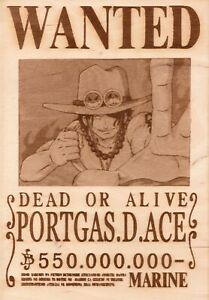 One Piece - Ace Wooden Wanted Poster