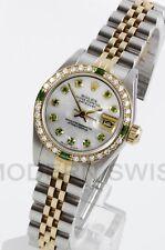 Rolex Ladies Datejust 18K Gold Steel MOP Emerald Diamond Bezel Jubilee Quickset