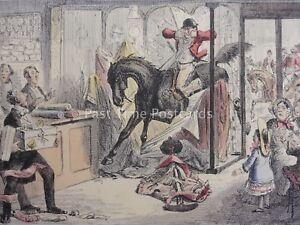 Hound & Fox Hunting HERCULES TAKES A DRAPERS SHOP c1853 John Leech Cartoon Print