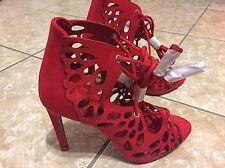 New Women's Zara Openwork Wraparound High Heel Sandals, Red, Size 5