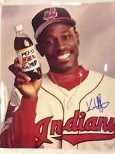 "Kenny Lofton Cleveland Indians Pepsi  Signed AUTOGRAPH 7-1/2"" x 9-1/2"" Photo"