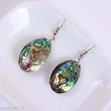 Oval Fashion 100% Genuine Abalone Shell Gemstone Silver Hook Dangle Earrings