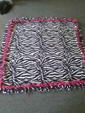 Hot Pink and Zebra Print Handmade Fleece Tie Blanket