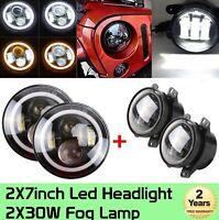 7'' 40W LED Halo Headlights + 4 '' 30W LED Fog Lights for 07-17 Jeep Wrangler JK